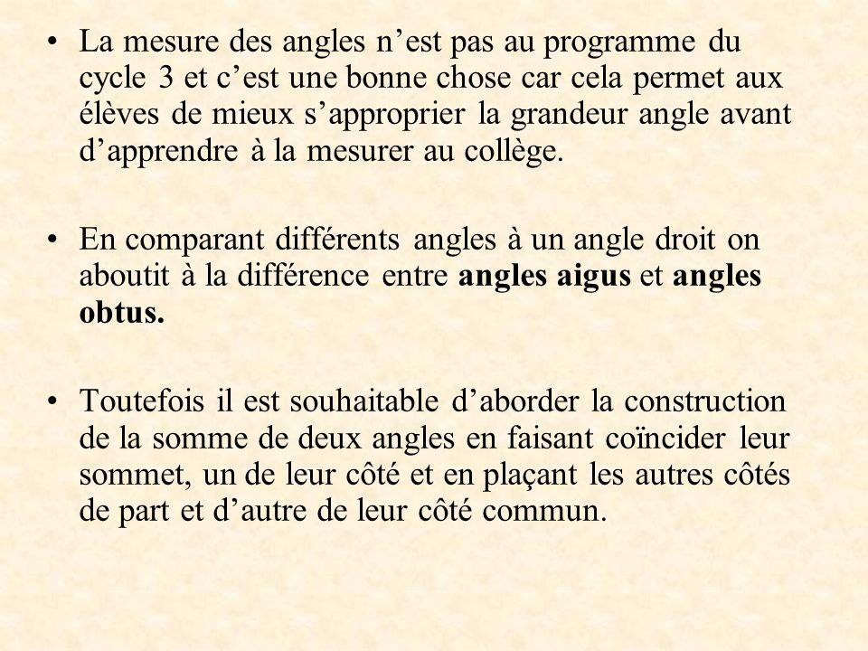 La mesure des angles nest pas au programme du cycle 3 et cest une bonne chose car cela permet aux élèves de mieux sapproprier la grandeur angle avant