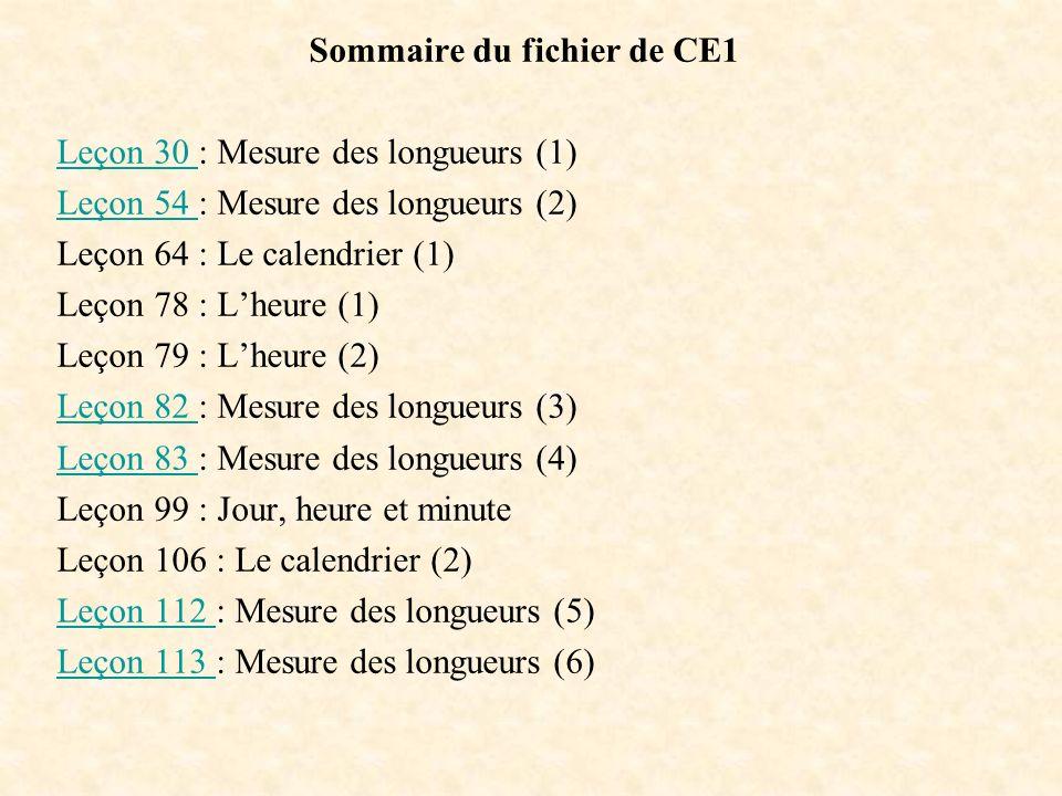 Sommaire du fichier de CE1 Leçon 30 Leçon 30 : Mesure des longueurs (1) Leçon 54 Leçon 54 : Mesure des longueurs (2) Leçon 64 : Le calendrier (1) Leço