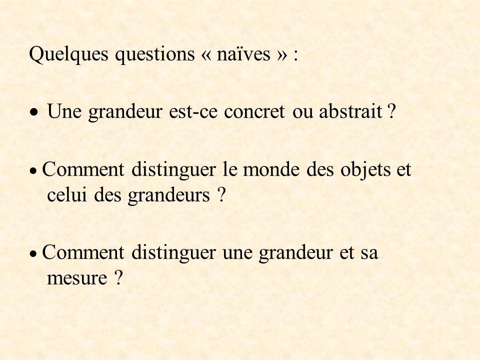 Quelques questions « naïves » : Une grandeur est-ce concret ou abstrait ? Comment distinguer le monde des objets et celui des grandeurs ? Comment dist