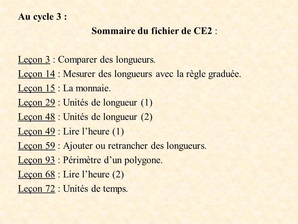 Au cycle 3 : Sommaire du fichier de CE2 : Leçon 3 : Comparer des longueurs. Leçon 14 : Mesurer des longueurs avec la règle graduée. Leçon 15 : La monn