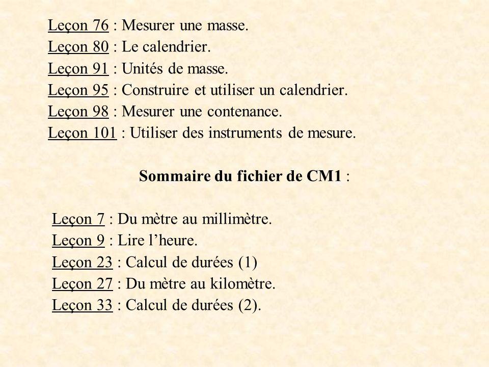Leçon 76 : Mesurer une masse. Leçon 80 : Le calendrier. Leçon 91 : Unités de masse. Leçon 95 : Construire et utiliser un calendrier. Leçon 98 : Mesure
