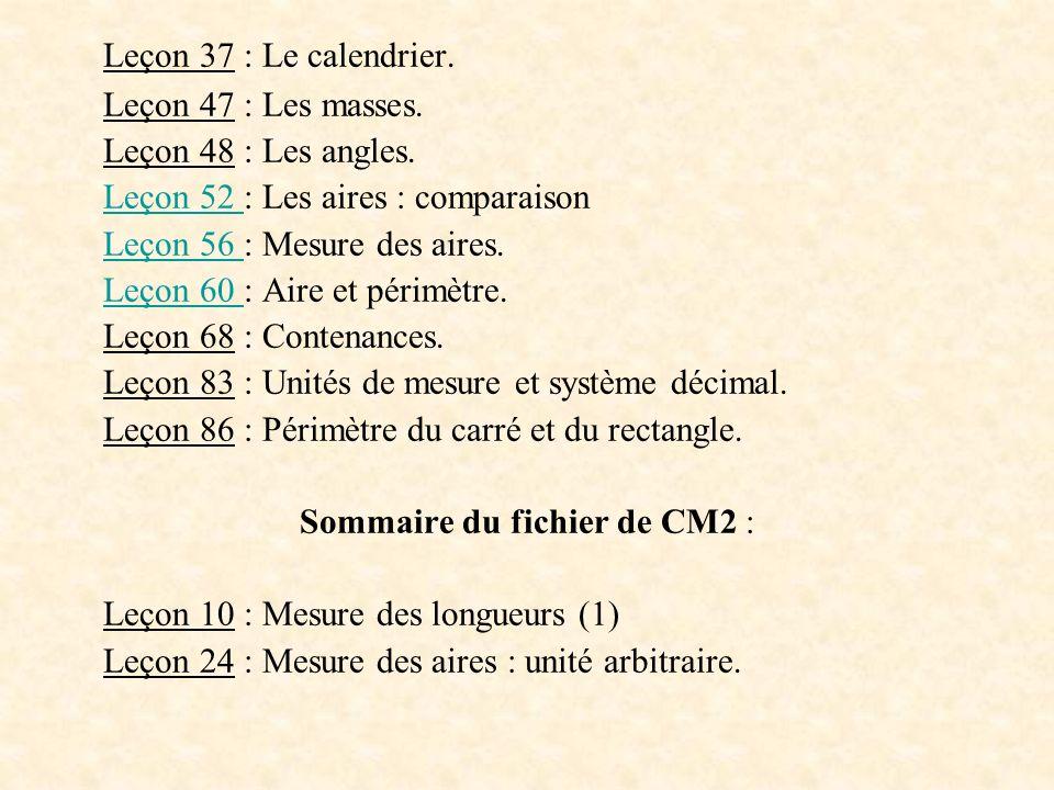 Leçon 37 : Le calendrier. Leçon 47 : Les masses. Leçon 48 : Les angles. Leçon 52 Leçon 52 : Les aires : comparaison Leçon 56 Leçon 56 : Mesure des air
