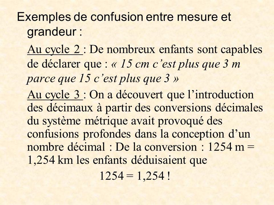 Exemples de confusion entre mesure et grandeur : Au cycle 2 : De nombreux enfants sont capables de déclarer que : « 15 cm cest plus que 3 m parce que