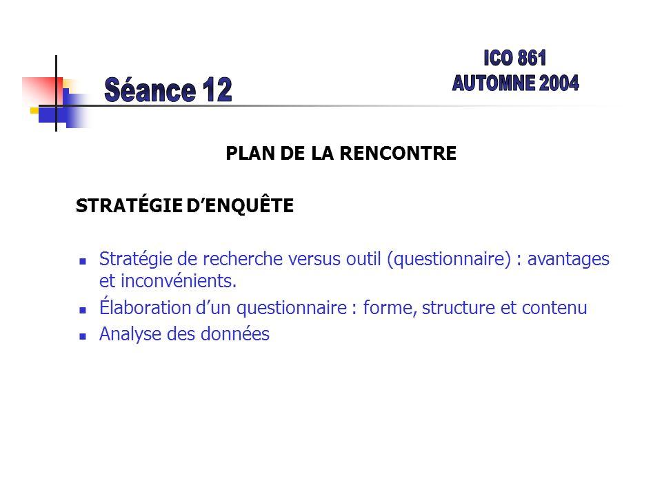 PLAN DE LA RENCONTRE STRATÉGIE DENQUÊTE Stratégie de recherche versus outil (questionnaire) : avantages et inconvénients. Élaboration dun questionnair