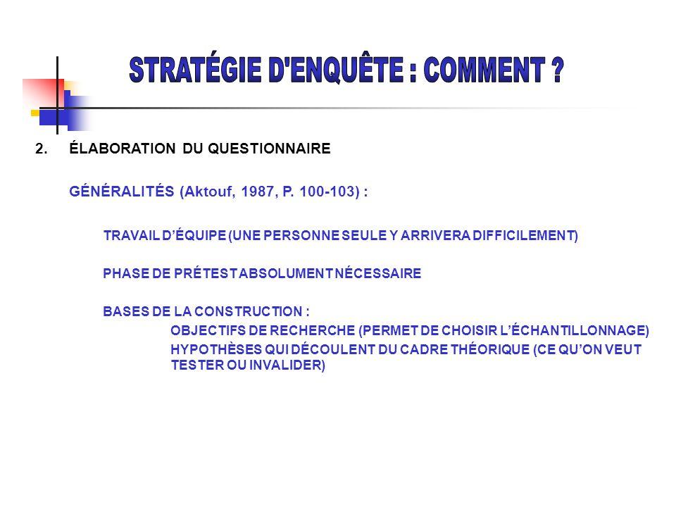 2. ÉLABORATION DU QUESTIONNAIRE GÉNÉRALITÉS (Aktouf, 1987, P. 100-103) : TRAVAIL DÉQUIPE (UNE PERSONNE SEULE Y ARRIVERA DIFFICILEMENT) PHASE DE PRÉTES