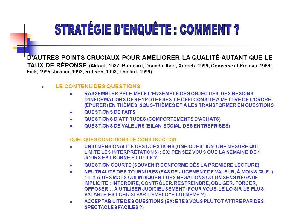 DAUTRES POINTS CRUCIAUX POUR AMÉLIORER LA QUALITÉ AUTANT QUE LE TAUX DE RÉPONSE (Aktouf, 1987; Baumard, Donada, Ibert, Xuereb, 1999; Converse et Press