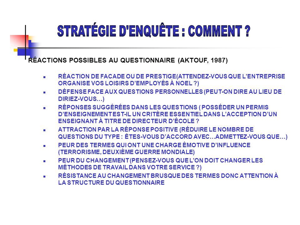RÉACTIONS POSSIBLES AU QUESTIONNAIRE (AKTOUF, 1987) RÉACTION DE FACADE OU DE PRESTIGE(ATTENDEZ-VOUS QUE LENTREPRISE ORGANISE VOS LOISIRS DEMPLOYÉS À N