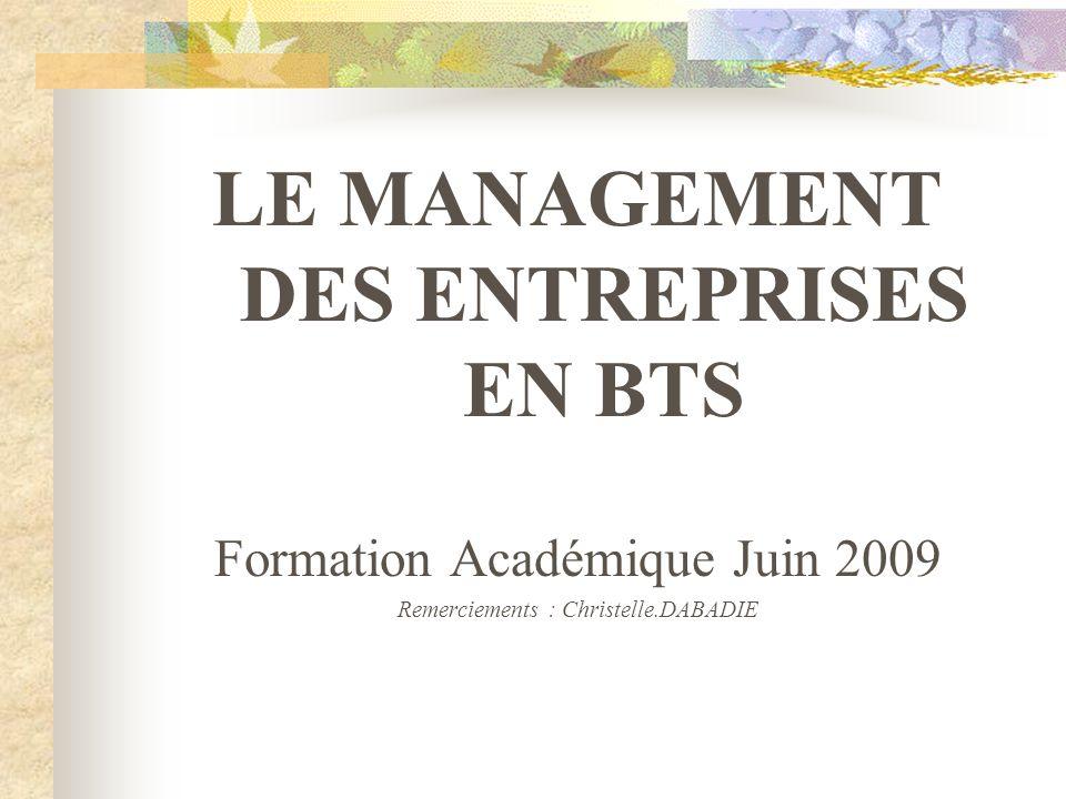 LE MANAGEMENT DES ENTREPRISES EN BTS Formation Académique Juin 2009 Remerciements : Christelle.DABADIE