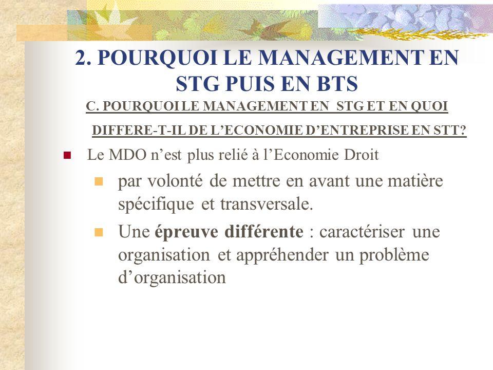 2. POURQUOI LE MANAGEMENT EN STG PUIS EN BTS C. POURQUOI LE MANAGEMENT EN STG ET EN QUOI DIFFERE-T-IL DE LECONOMIE DENTREPRISE EN STT? Le MDO nest plu