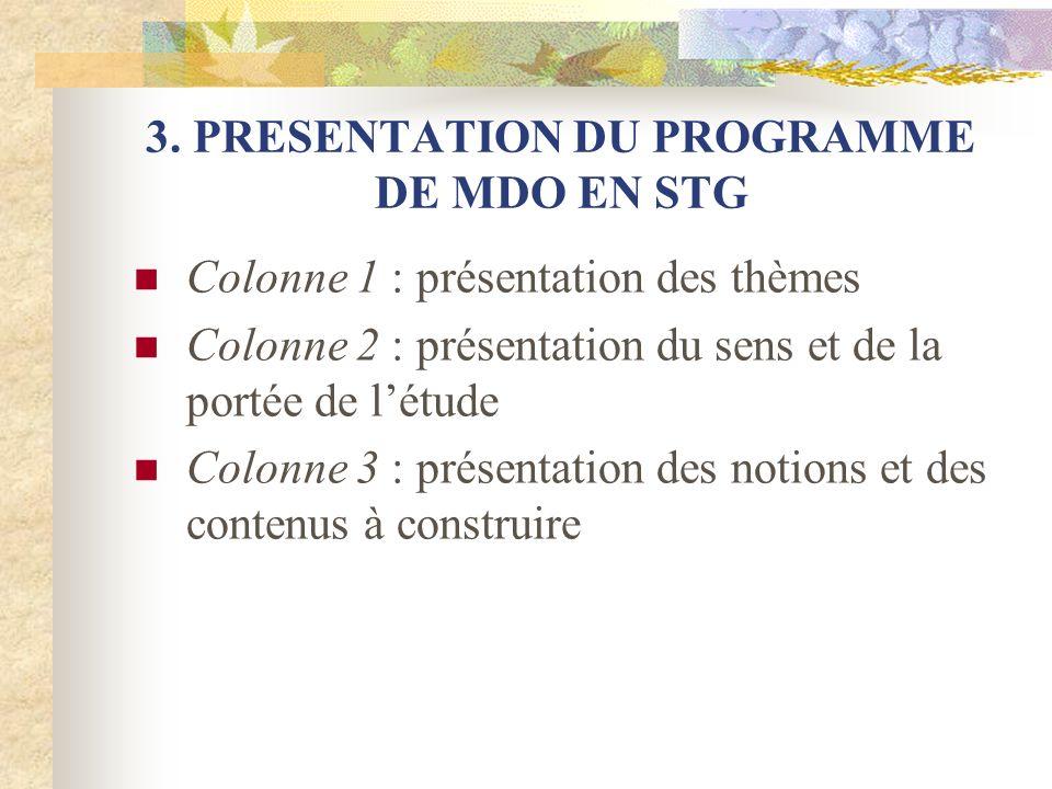 3. PRESENTATION DU PROGRAMME DE MDO EN STG Colonne 1 : présentation des thèmes Colonne 2 : présentation du sens et de la portée de létude Colonne 3 :