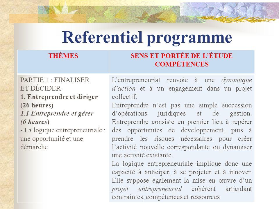 Referentiel programme THÈMESSENS ET PORTÉE DE LÉTUDE COMPÉTENCES PARTIE 1 : FINALISER ET DÉCIDER 1. Entreprendre et diriger (26 heures) 1.1 Entreprend
