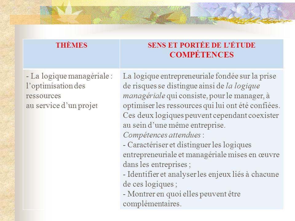 THÈMESSENS ET PORTÉE DE LÉTUDE COMPÉTENCES - La logique managériale : loptimisation des ressources au service dun proje t La logique entrepreneuriale