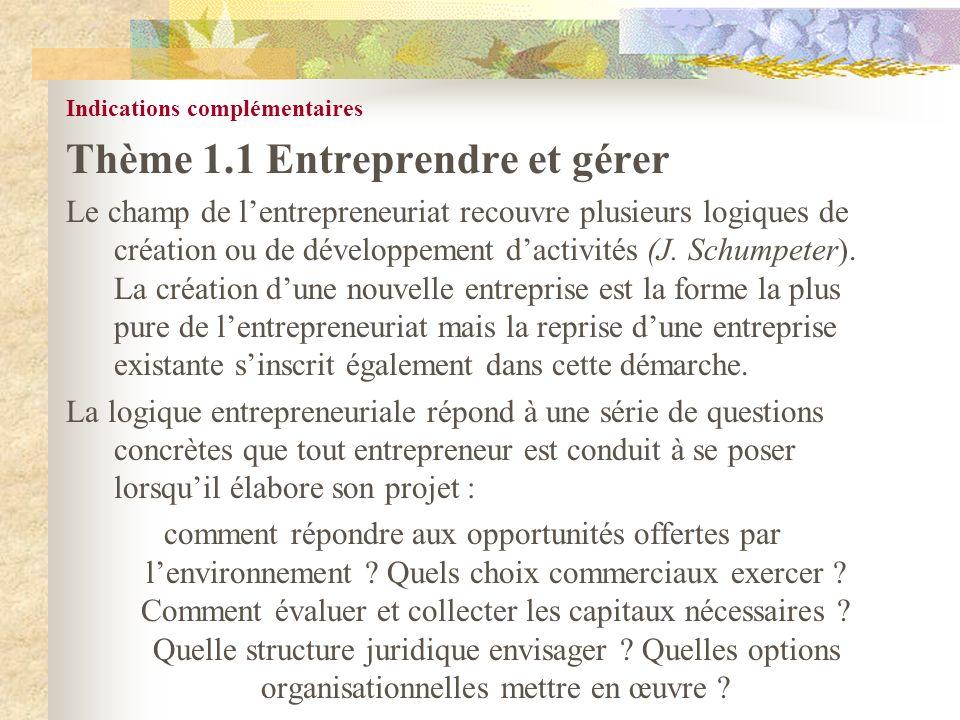 Indications complémentaires Thème 1.1 Entreprendre et gérer Le champ de lentrepreneuriat recouvre plusieurs logiques de création ou de développement d