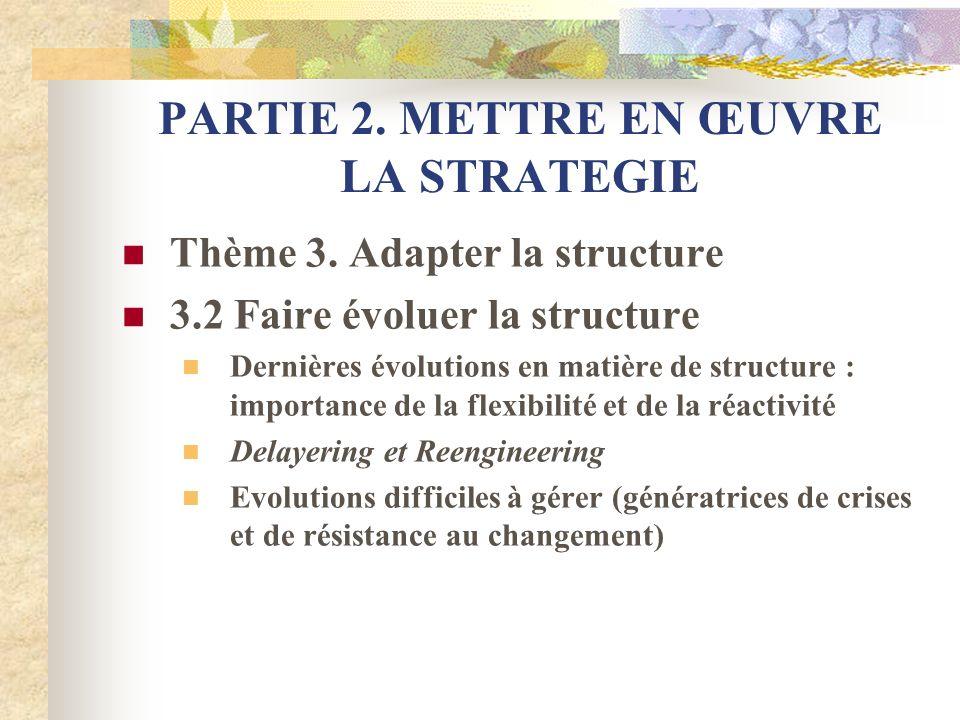 PARTIE 2. METTRE EN ŒUVRE LA STRATEGIE Thème 3. Adapter la structure 3.2 Faire évoluer la structure Dernières évolutions en matière de structure : imp