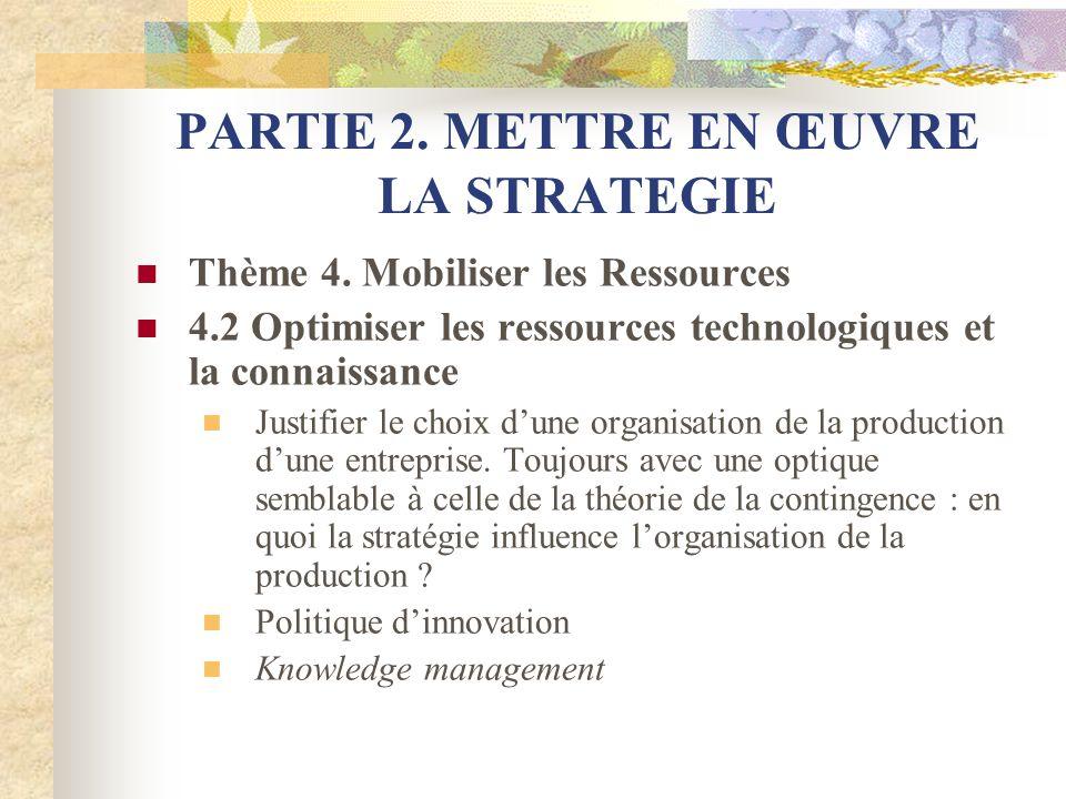 PARTIE 2. METTRE EN ŒUVRE LA STRATEGIE Thème 4. Mobiliser les Ressources 4.2 Optimiser les ressources technologiques et la connaissance Justifier le c