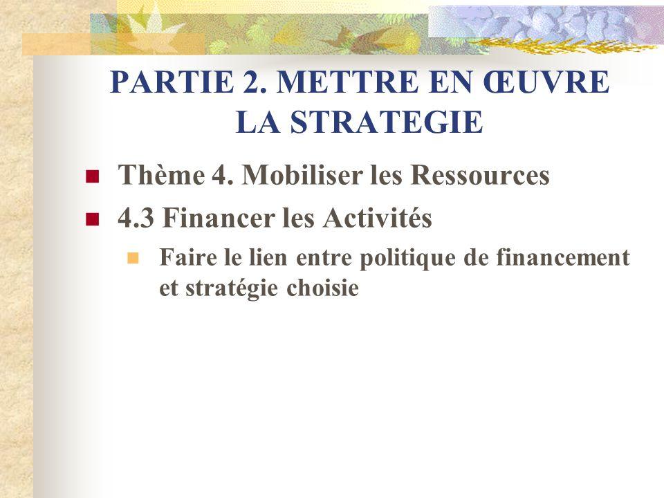 PARTIE 2. METTRE EN ŒUVRE LA STRATEGIE Thème 4. Mobiliser les Ressources 4.3 Financer les Activités Faire le lien entre politique de financement et st
