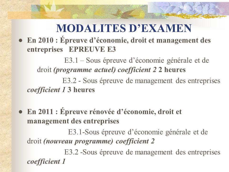 MODALITES DEXAMEN En 2010 : Épreuve déconomie, droit et management des entreprises EPREUVE E3 E3.1 – Sous épreuve déconomie générale et de droit (prog