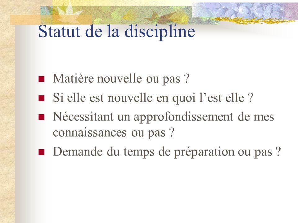 Statut de la discipline Matière nouvelle ou pas ? Si elle est nouvelle en quoi lest elle ? Nécessitant un approfondissement de mes connaissances ou pa
