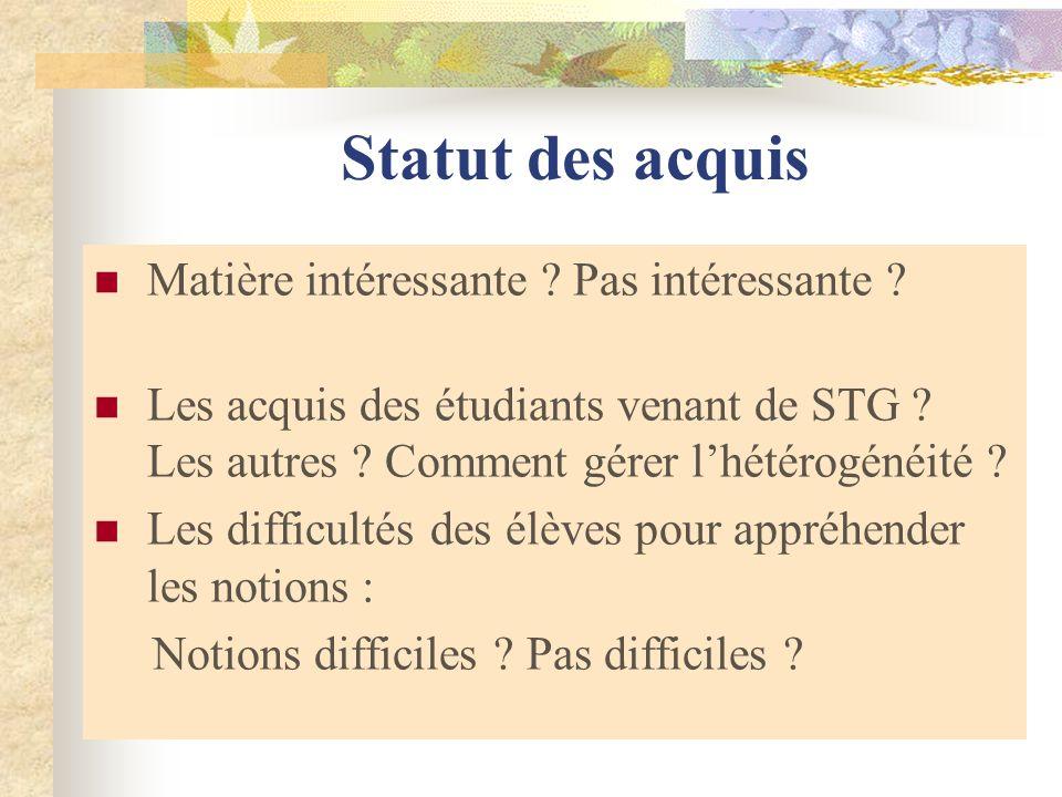 Statut des acquis Matière intéressante ? Pas intéressante ? Les acquis des étudiants venant de STG ? Les autres ? Comment gérer lhétérogénéité ? Les d
