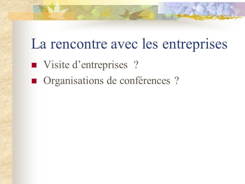 La rencontre avec les entreprises Visite dentreprises ? Organisations de conférences ?