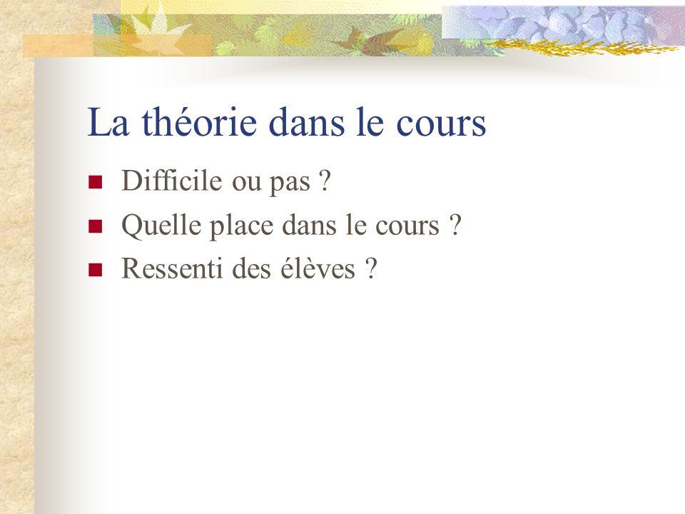 La théorie dans le cours Difficile ou pas ? Quelle place dans le cours ? Ressenti des élèves ?