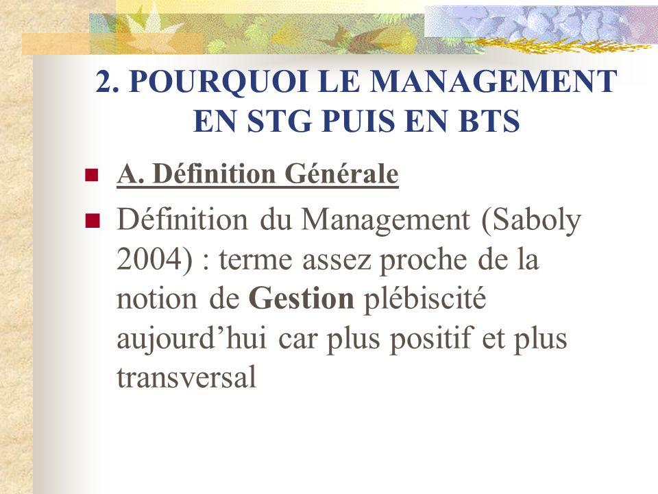 2.POURQUOI LE MANAGEMENT EN STG PUIS EN BTS B. Quest ce que le MDO en STG .