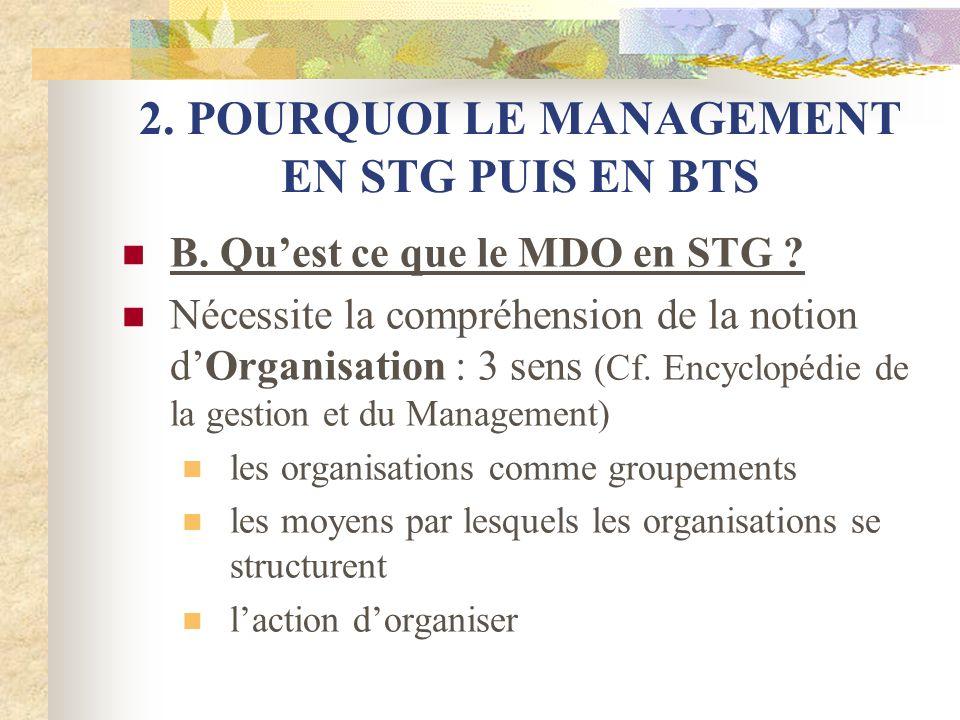 2. POURQUOI LE MANAGEMENT EN STG PUIS EN BTS B. Quest ce que le MDO en STG ? Nécessite la compréhension de la notion dOrganisation : 3 sens (Cf. Encyc