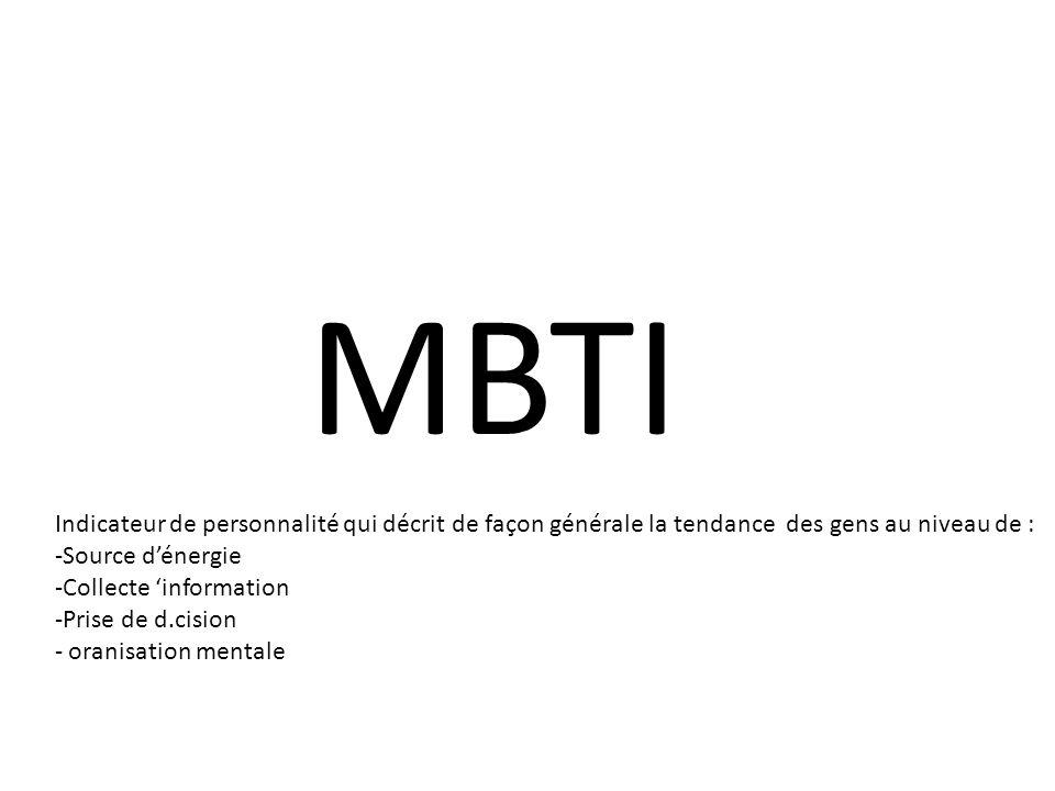 MBTI Indicateur de personnalité qui décrit de façon générale la tendance des gens au niveau de : -Source dénergie -Collecte information -Prise de d.cision - oranisation mentale