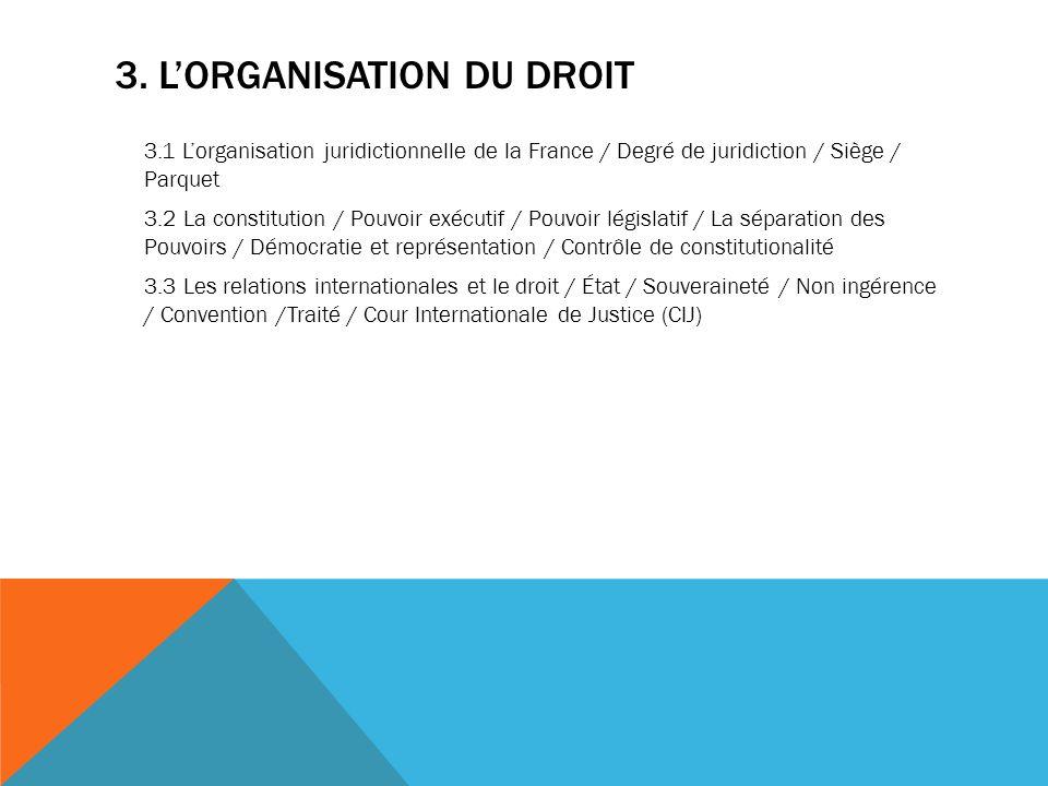 3. LORGANISATION DU DROIT 3.1 Lorganisation juridictionnelle de la France / Degré de juridiction / Siège / Parquet 3.2 La constitution / Pouvoir exécu