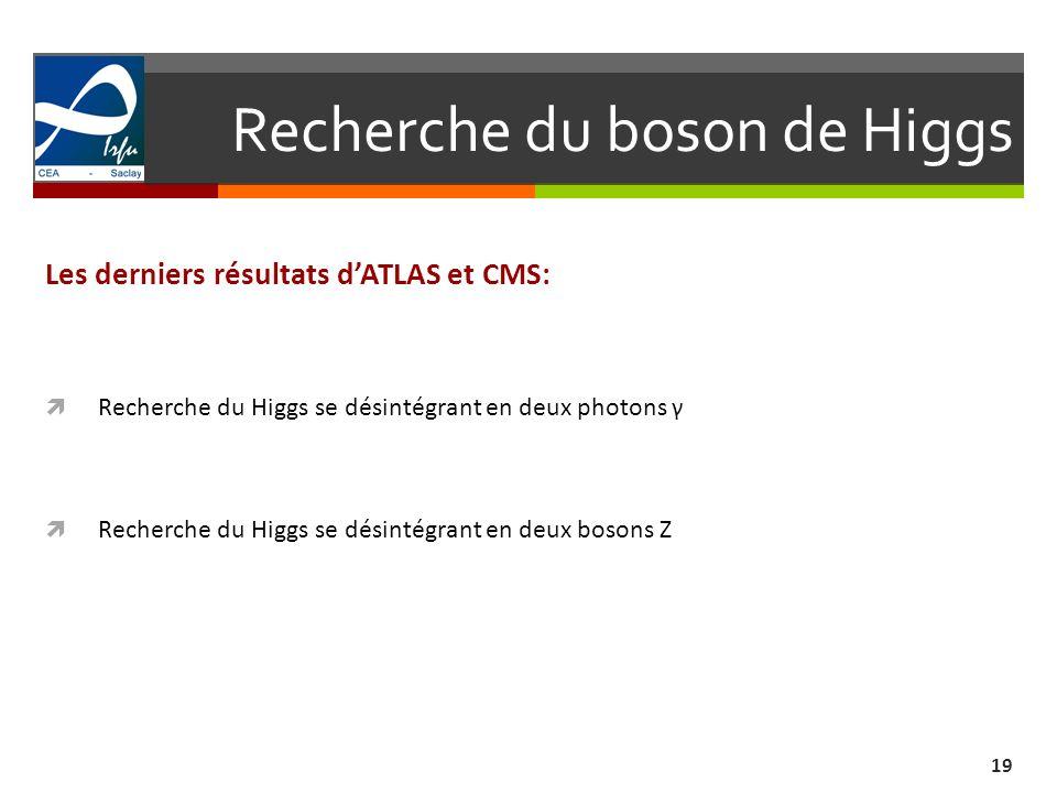 Recherche du boson de Higgs 19 Les derniers résultats dATLAS et CMS: Recherche du Higgs se désintégrant en deux photons γ Recherche du Higgs se désintégrant en deux bosons Z