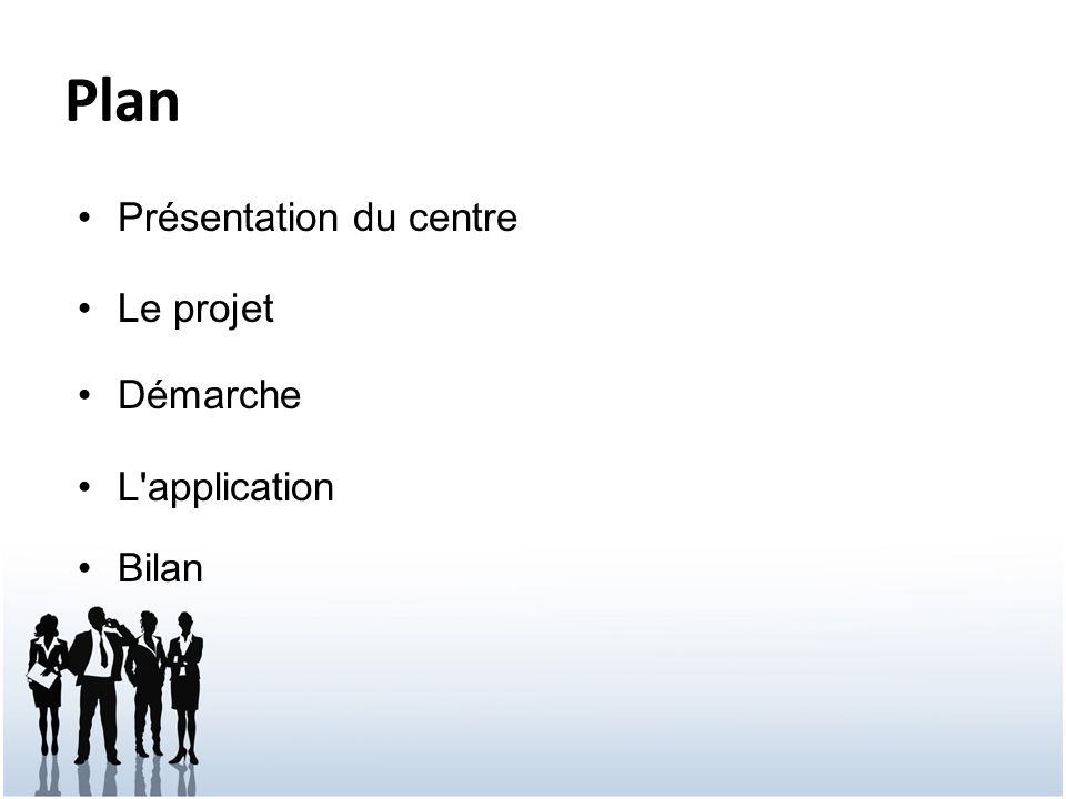 Plan Présentation du centre Le projet Démarche L'application Bilan