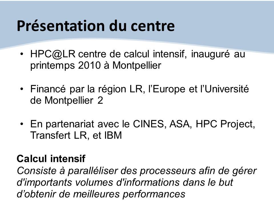 Présentation du centre HPC@LR centre de calcul intensif, inauguré au printemps 2010 à Montpellier Financé par la région LR, lEurope et lUniversité de