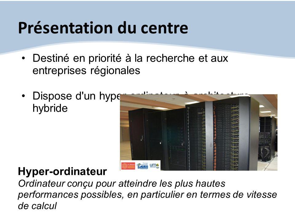 Présentation du centre Destiné en priorité à la recherche et aux entreprises régionales Dispose d'un hyper-ordinateur à architecture hybride Hyper-ord
