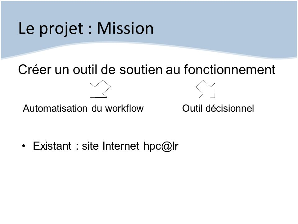 Le projet : Enjeux Accès aux informations Chiffres clefs Suivi des opérations Nouveaux partenaires Pilotage Aide à la décision Tenir délais réponse