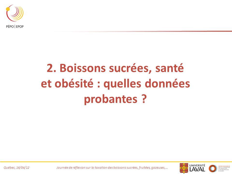 Québec, 16/04/12 Journée de réflexion sur la taxation des boissons sucrées, fruitées, gazeuses,… 2. Boissons sucrées, santé et obésité : quelles donné