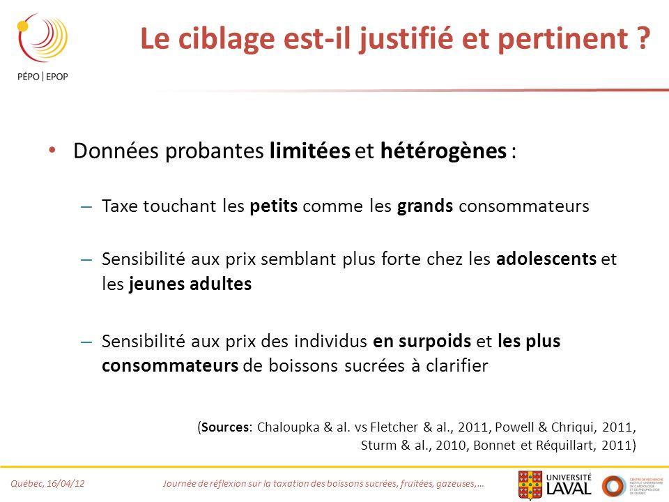 Québec, 16/04/12 Journée de réflexion sur la taxation des boissons sucrées, fruitées, gazeuses,… Le ciblage est-il justifié et pertinent ? Données pro