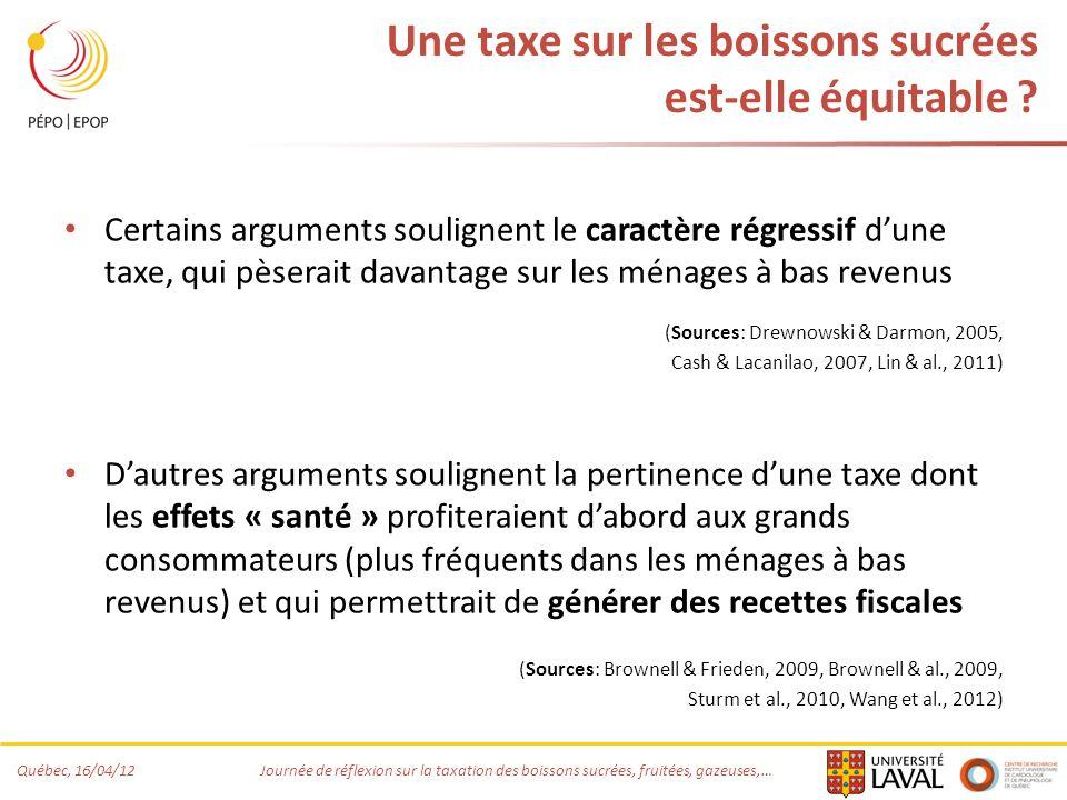 Québec, 16/04/12 Journée de réflexion sur la taxation des boissons sucrées, fruitées, gazeuses,… Une taxe sur les boissons sucrées est-elle équitable