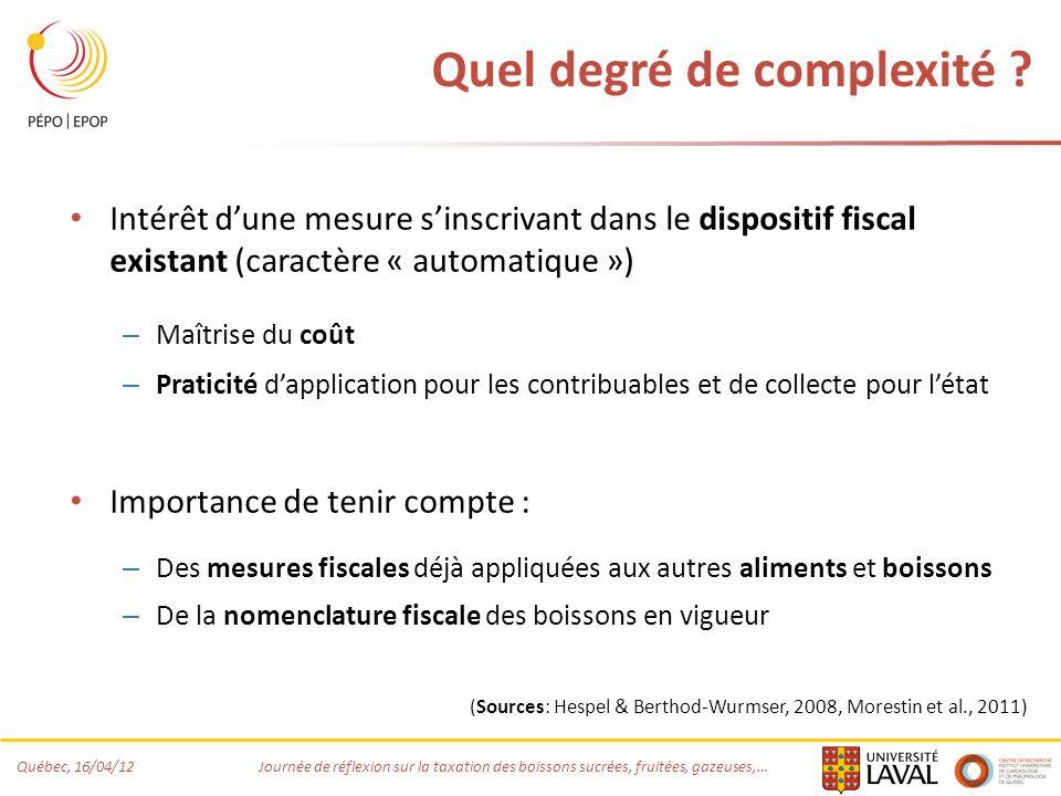 Québec, 16/04/12 Journée de réflexion sur la taxation des boissons sucrées, fruitées, gazeuses,… Quel degré de complexité ? Intérêt dune mesure sinscr