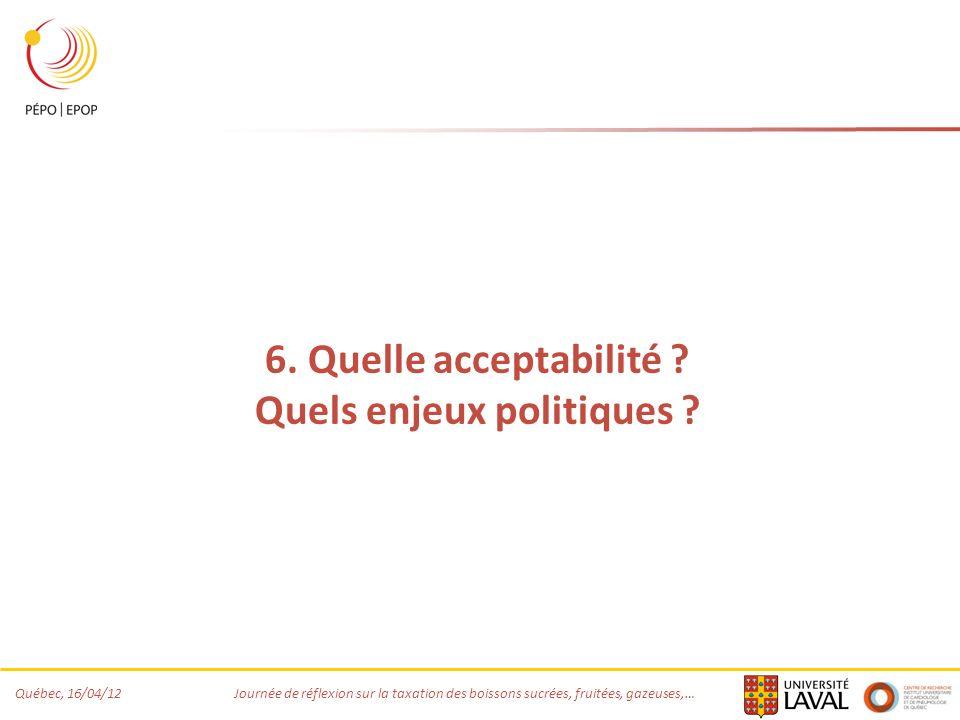 Québec, 16/04/12 Journée de réflexion sur la taxation des boissons sucrées, fruitées, gazeuses,… 6. Quelle acceptabilité ? Quels enjeux politiques ?