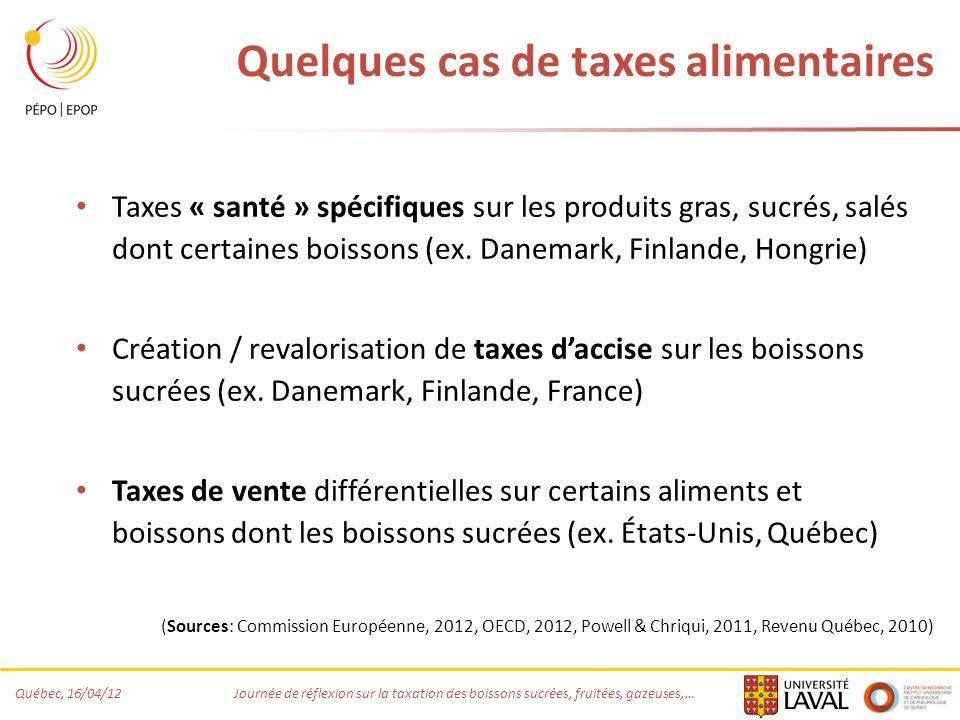 Québec, 16/04/12 Journée de réflexion sur la taxation des boissons sucrées, fruitées, gazeuses,… Quelques cas de taxes alimentaires Taxes « santé » sp