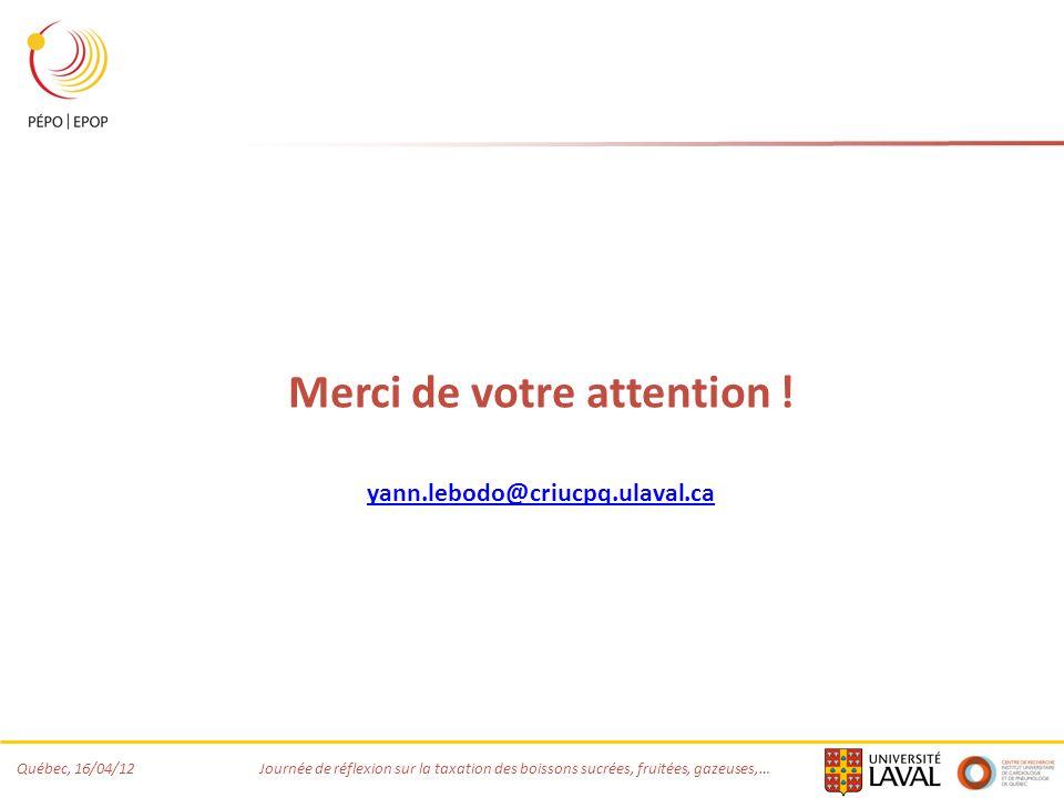 Québec, 16/04/12 Journée de réflexion sur la taxation des boissons sucrées, fruitées, gazeuses,… Merci de votre attention ! yann.lebodo@criucpq.ulaval