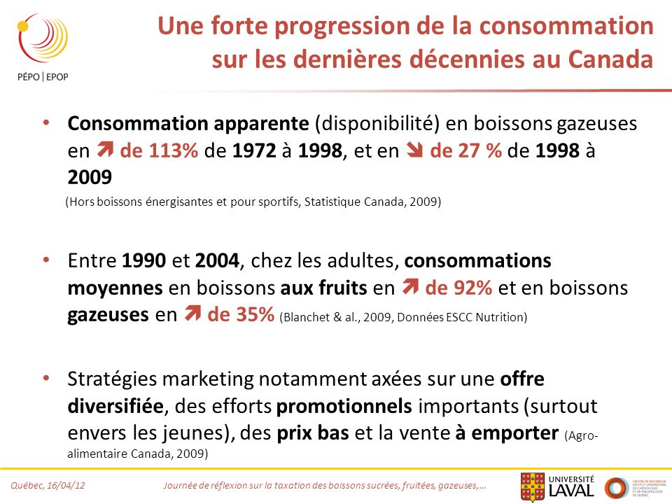 Québec, 16/04/12 Journée de réflexion sur la taxation des boissons sucrées, fruitées, gazeuses,… Une forte progression de la consommation sur les dern