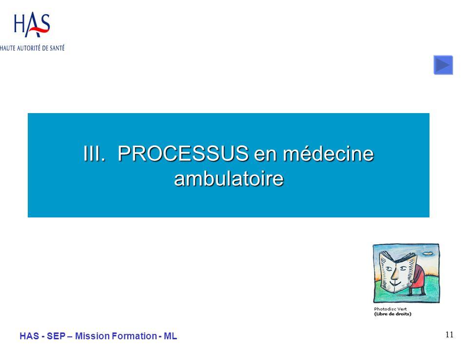 11 HAS - SEP – Mission Formation - ML III. PROCESSUS en médecine ambulatoire