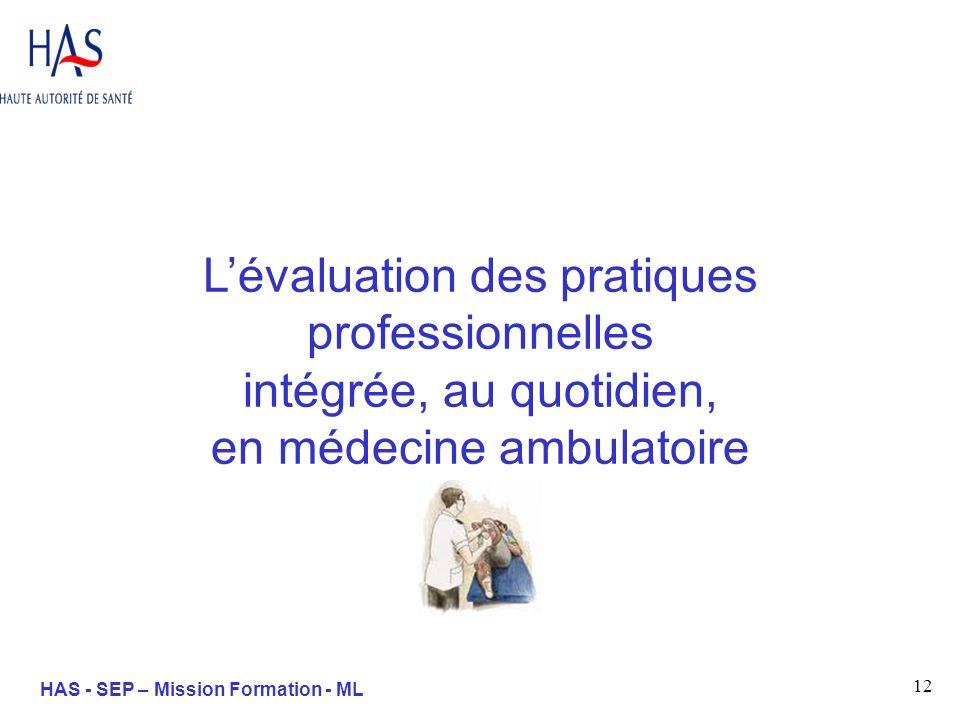 12 HAS - SEP – Mission Formation - ML Lévaluation des pratiques professionnelles intégrée, au quotidien, en médecine ambulatoire