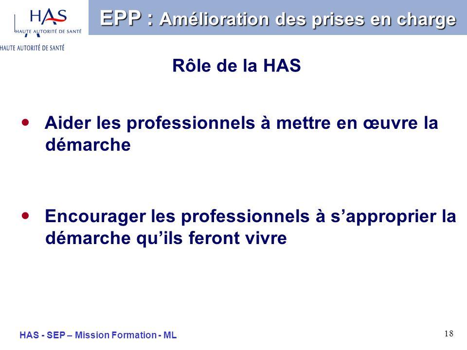 18 HAS - SEP – Mission Formation - ML Aider les professionnels à mettre en œuvre la démarche EPP : Amélioration des prises en charge Rôle de la HAS En