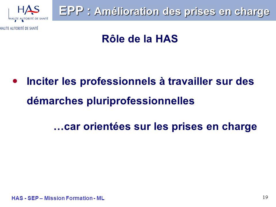 19 HAS - SEP – Mission Formation - ML Inciter les professionnels à travailler sur des démarches pluriprofessionnelles …car orientées sur les prises en