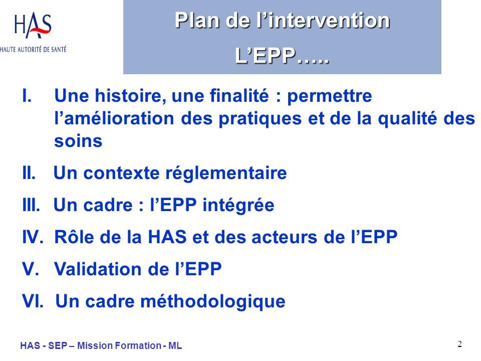 2 HAS - SEP – Mission Formation - ML I.Une histoire, une finalité : permettre lamélioration des pratiques et de la qualité des soins II. Un contexte r