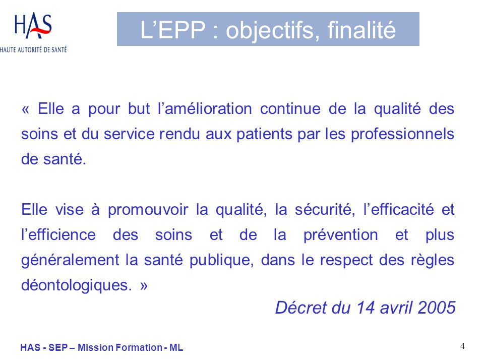 35 HAS - SEP – Mission Formation - ML Les approches de lEPP