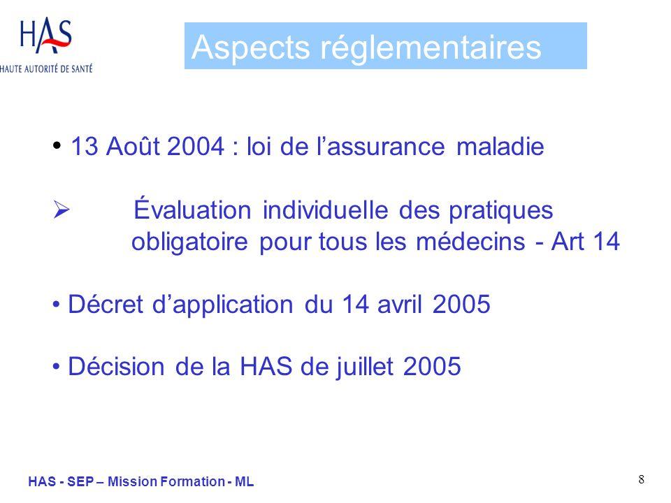 9 HAS - SEP – Mission Formation - ML LEPP : définition Un cadre méthodologique « Elle consiste en lanalyse de la pratique professionnelle en référence à des recommandations et selon une méthode élaborée ou validée par la HAS et inclut la mise en œuvre et le suivi dactions damélioration des pratiques » Décret du 14 avril 2005