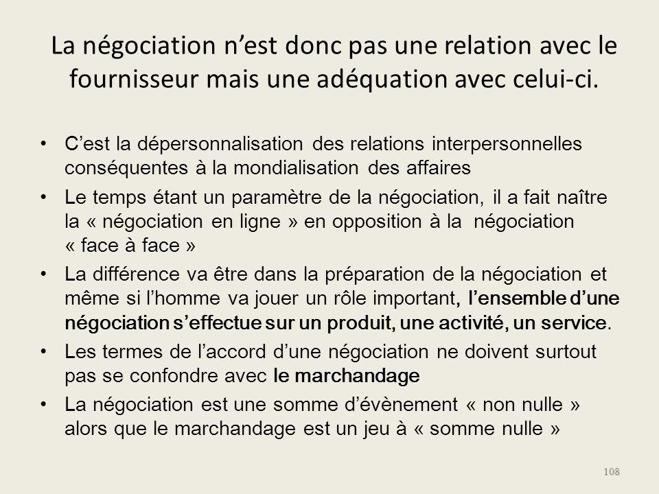 La négociation nest donc pas une relation avec le fournisseur mais une adéquation avec celui-ci. Cest la dépersonnalisation des relations interpersonn